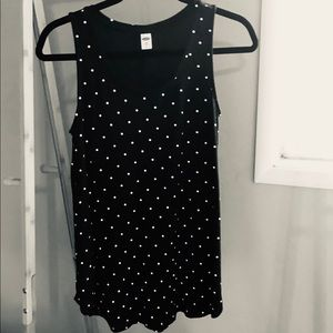 Black with White Polka-Dots Tank Top